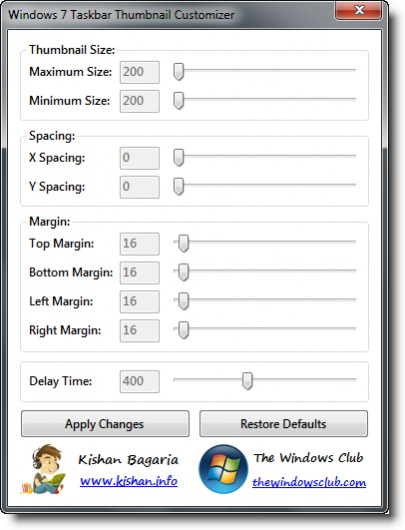 Image De Windows  Taskbar Thumbnail Customizer